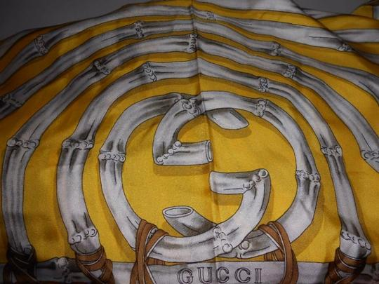 Gucci Gucci Bamboo Silk Scarf Yellow Colorway Large 42 Inches Square Image 9