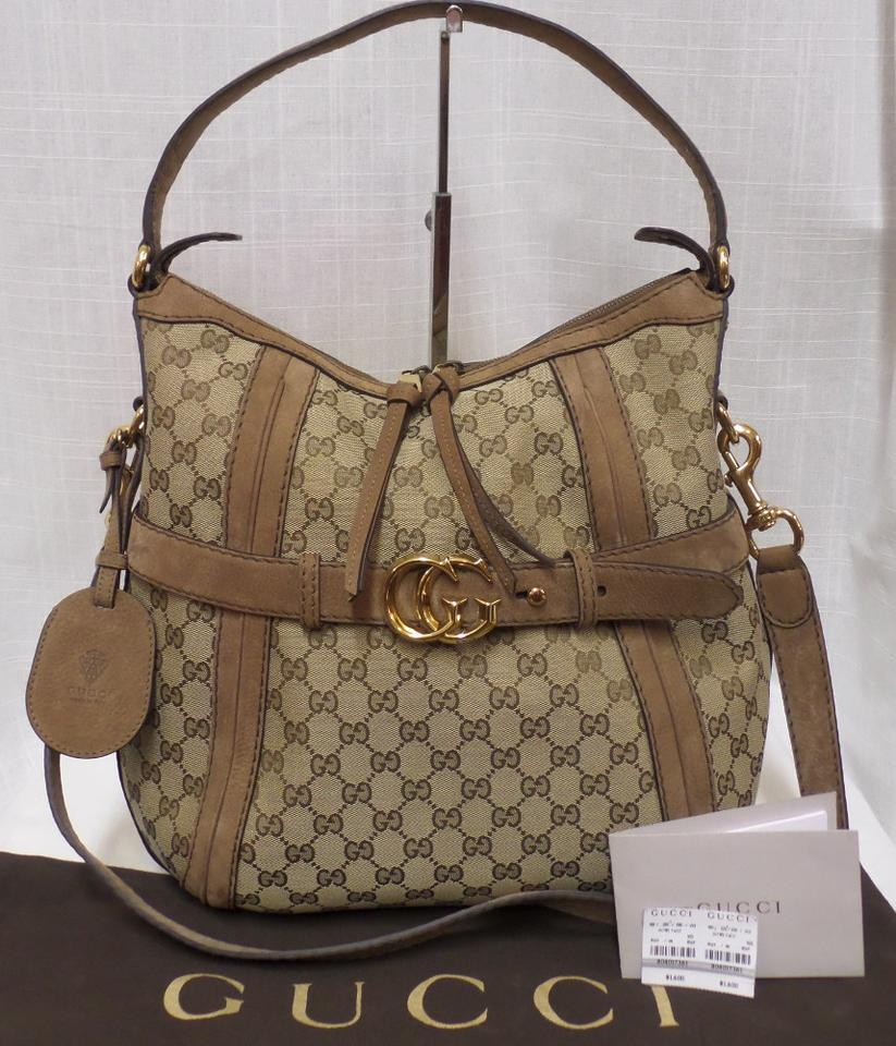 01061c1117bf Gucci Gg Running Browns Canvas Hobo Bag - Tradesy