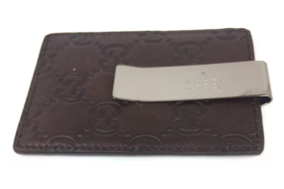 aefbd4f4b3e3bd Gucci Gucci Brown GG Guccissima Leather Money Clip/ Card Case #115268 Image  0 ...