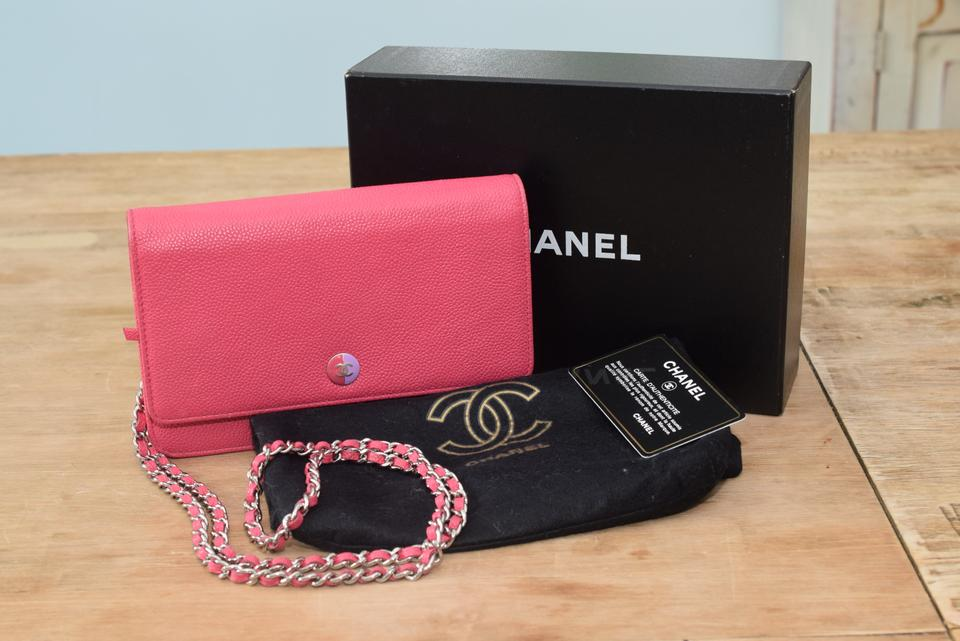 b103d56bfdc8 Chanel Wallet on Chain Classic Flap Timeless Mini Cc Button Logo Pink  Caviar Leather Cross Body Bag