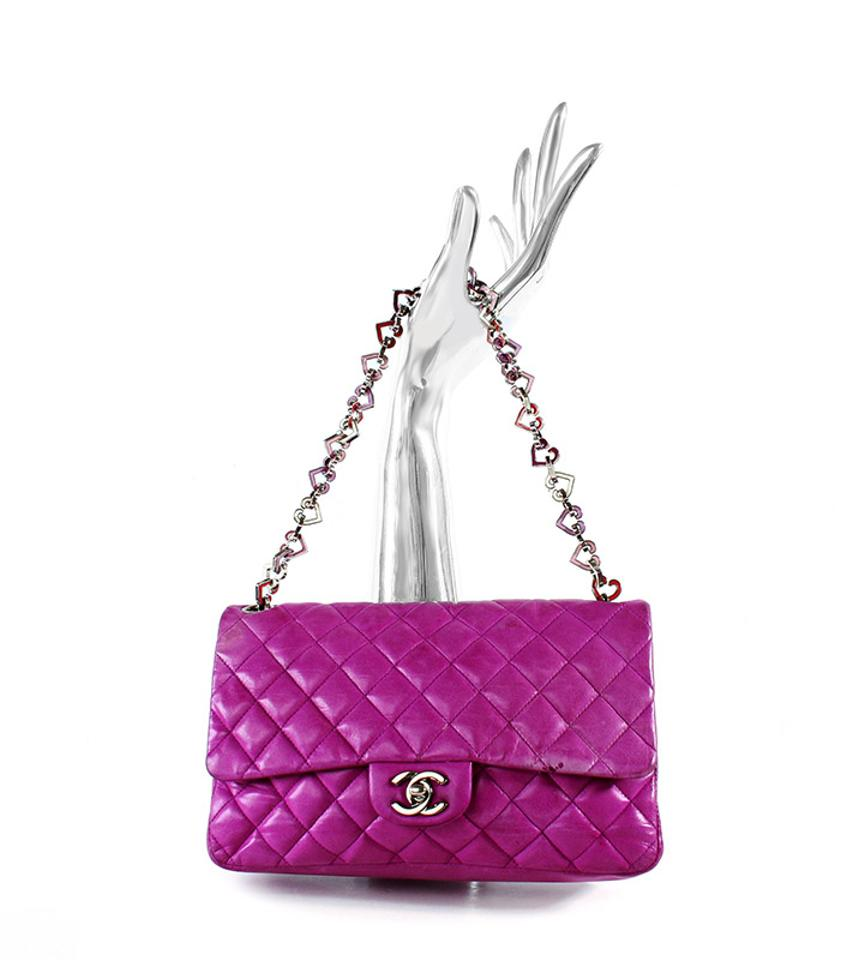 7aecfc367746 Chanel Classic Flap Valentine Heart Pink Limited Edition Fuchsia ...