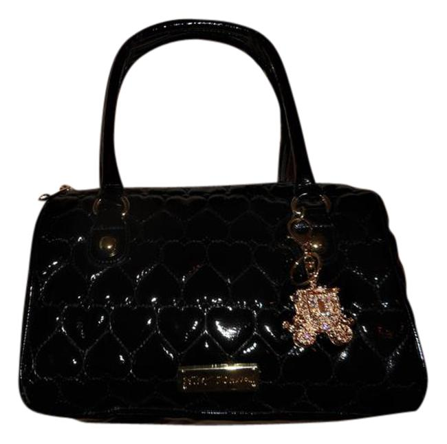 Item - Betseyville Quilted Black Faux Patent Leather Satchel
