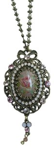 Michal Negrin Michal Negrin Pendant. Swarovski Crystals, Beads, Painted Flowers.