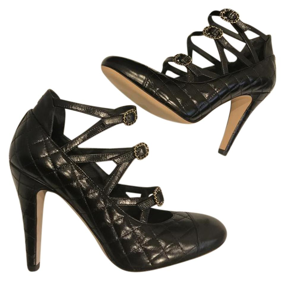 abea2d1f0 Chanel Black 17c Quilted Leather Buckled Strappy Sandals Bootie Pumps. Size   EU 37 ...