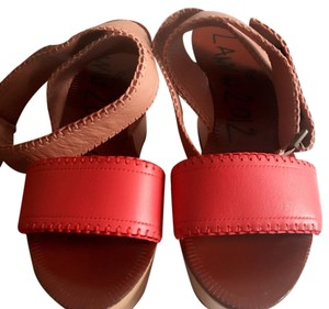 Lanvin fuschia red and brown leather Wedges