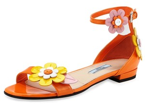 Prada Floral Applique Patent Leather Sandal Made In Italy Orange Flats