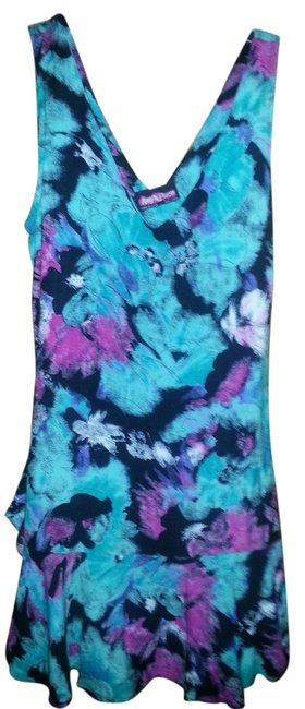 Preload https://item5.tradesy.com/images/teal-purple-and-black-v-neck-front-with-sash-above-knee-short-casual-dress-size-6-s-2186929-0-0.jpg?width=400&height=650