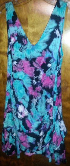 Amy's Place, New York short dress Teal, purple and black on Tradesy