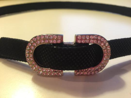 Other Black Snakeskin Suede Belt with Rhinestone Buckle