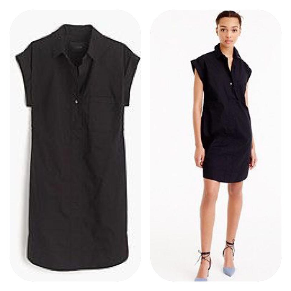 72d2dc8e880 J.Crew Black Cotton Sleeve Shirtdress Casual Dress. Size  8 (M) Length   Short ...