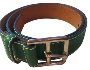 Ralph Lauren Ralph Lauren xs green leather belt with silver buckle & white top stitching 33 & 1/2