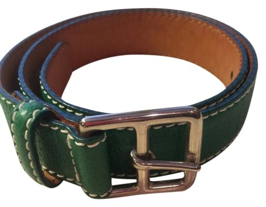 "Ralph Lauren Ralph Lauren xs green leather belt with silver buckle & white top stitching 33 & 1/2"" x 1"""