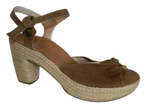 Paul Green Suede Espadrille Heel Brown Sandals