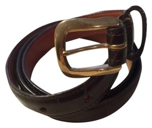 Joan & David Joan & David Dark Brown Alligator Stamped Calfskin Belt