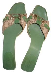 Gucci Brown and green Mules