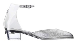 Chanel Pvc Clear Transparent Crackled Silver Sandals