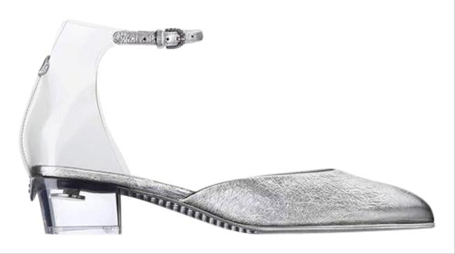 Item - Silver 17s Crackled Leather Pvc Strap Transparent Sandals Size EU 40 (Approx. US 10) Regular (M, B)