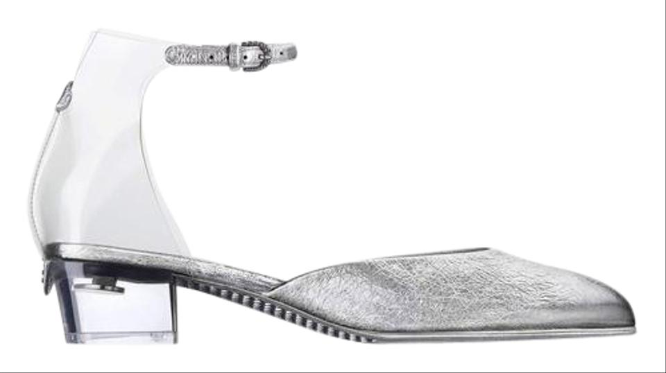 0987e1ea2f619 Chanel Silver 17s Crackled Leather Pvc Strap Transparent Sandals ...