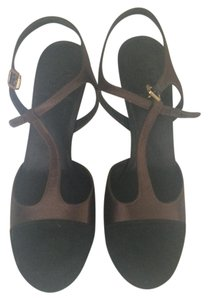 Tory Burch T Strap Black Suede and Chocolate Satin Pumps