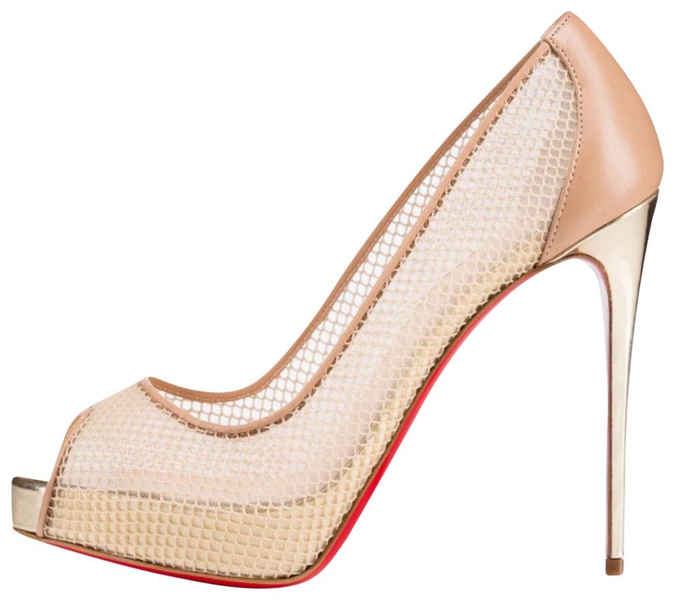 big sale 8de86 a1167 Christian Louboutin Very Rete Beige Mesh Gold Stiletto Peep Toe Pumps Size  EU 37.5 (Approx. US 7.5) Regular (M, B) 36% off retail