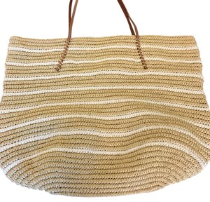 Hat Attack Straw and white Beach Bag