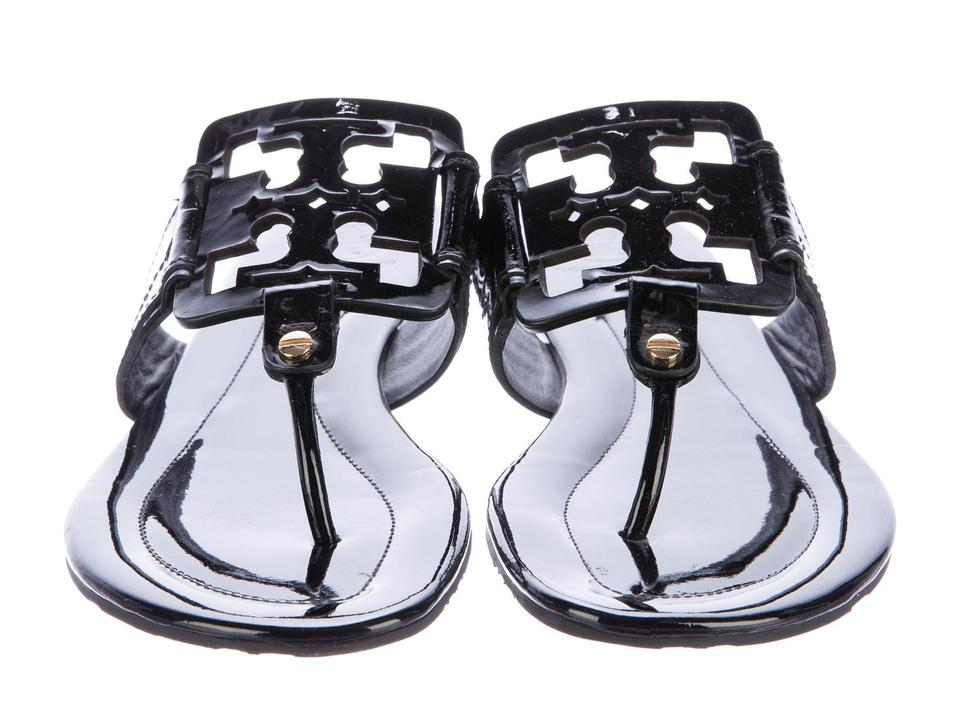 707b234ad Tory Burch Black T Patent Leather Square Miller T-strap Sandals Size ...