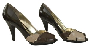 Alfani Leather Patent Leather Peep Toe Platform Brown and Taupe Pumps