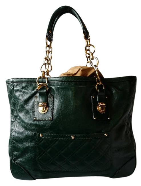 Item - Quilted with Chain Blue Green Leather Tote