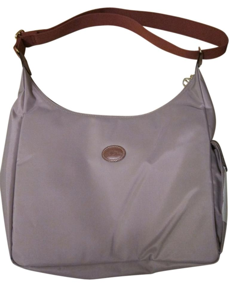 fd1fa64b699f Longchamp Le Pliage Hobo Crossbody Clay Leather and Nylon Messenger ...