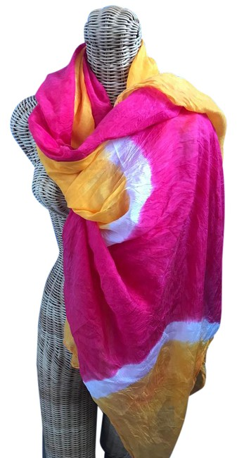 Item - Pink/Orange/Ivory Multi-color Silk Scarf/Wrap