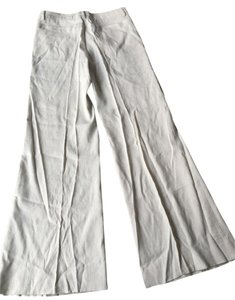 Theory Linen Linen White Wide Leg Pants off-white and black