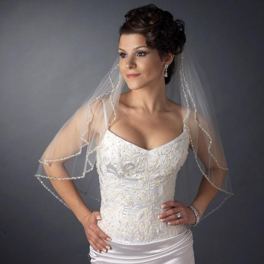 Elegance By Carbonneau Two Layer White Beaded Elbow Wedding Veil