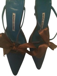 Manolo Blahnik Satin Teal and Gold Mules