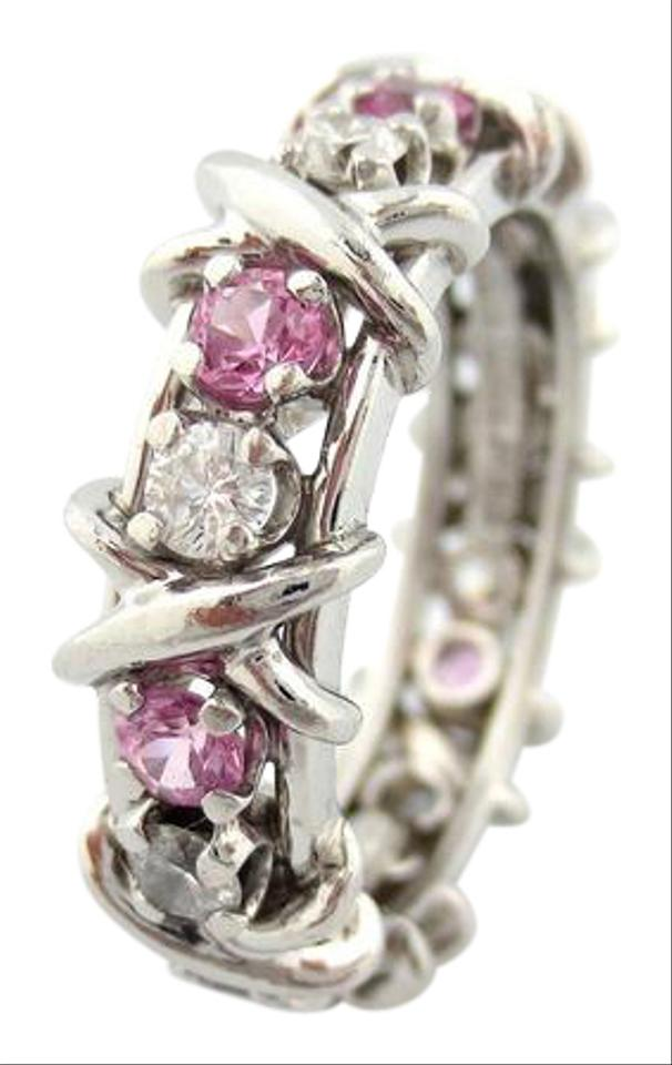 ae9a640f267f Tiffany   Co. Platinum Jean Schlumberger 16 Stone Diamond Pink Sapphire Ring