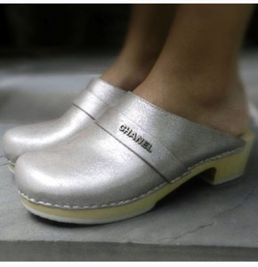Chanel Silver Mules