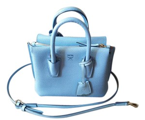 MCM Leather Tote Crossbody Fashion Satchel in Blue