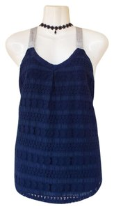 Jolt Racer-back Lace Knot Sleeveless Casual Top navy blue, grey