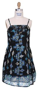 Angie short dress Multi-colored (Black, Blue, Green, Yellow) Print Summer A-line Party on Tradesy