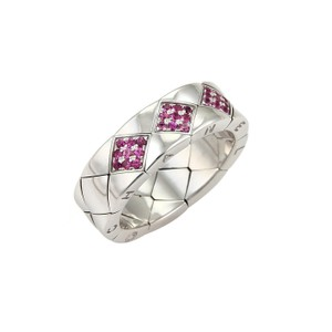 Chanel 21078 - CHANEL Matelasse Pink Sapphire 18k White Gold 7mm Band Ring