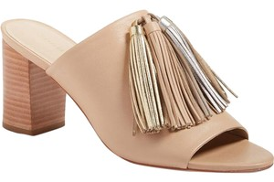 Loeffler Randall Bootie Wedge Heel Mule Slip On NUDE WITH SILVER AND GOLD TASSLE LEATHER Sandals
