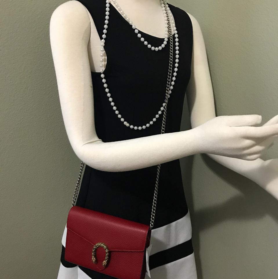 edc833f7d43443 Gucci Wallet on Chain Dionysus Mini Red Leather Cross Body Bag - Tradesy