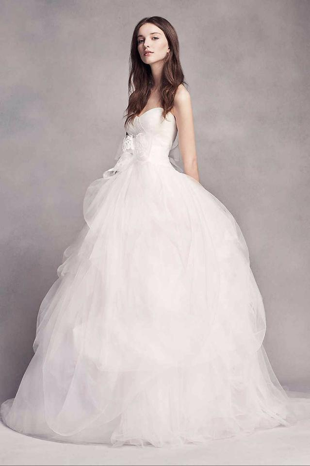 c5aa1946df5 White by Vera Wang Soft Tulle Hand-draped Vw351339 Feminine Wedding Dress  Size 4 (. 123456789101112