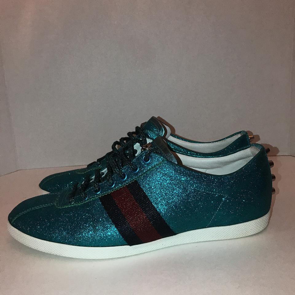9856435f30e Gucci Blue Velvet Mens Glitter Web Sneaker with Studs Sneakers Size ...