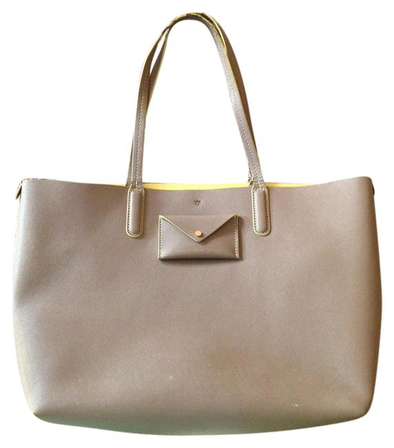 Item - Metropolitote Taupe Gray. Interior Yellow Leather Tote