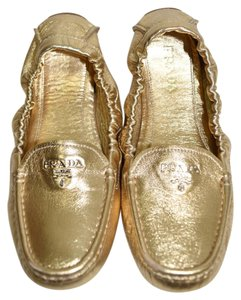 Prada Espadrilles Platform Slip On GOLD LEATHER Flats