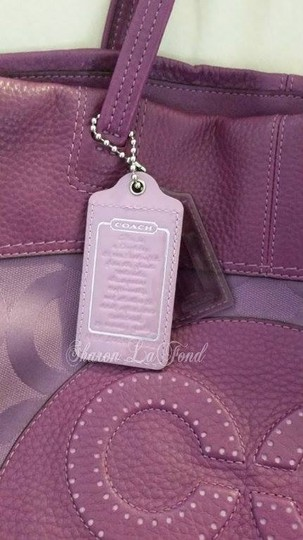 Coach Julia Op Art Perry Sateen Leather Dog Leash Clip Tote in purples