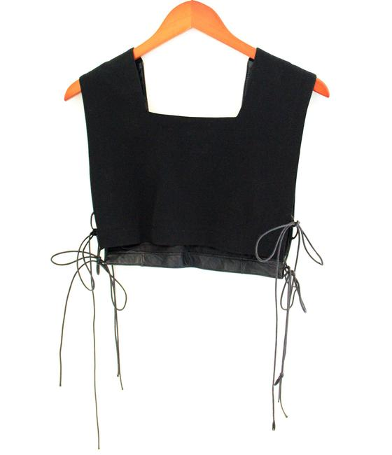Kyuso Jake & Egidio Vest Top Black leather and cotton mix