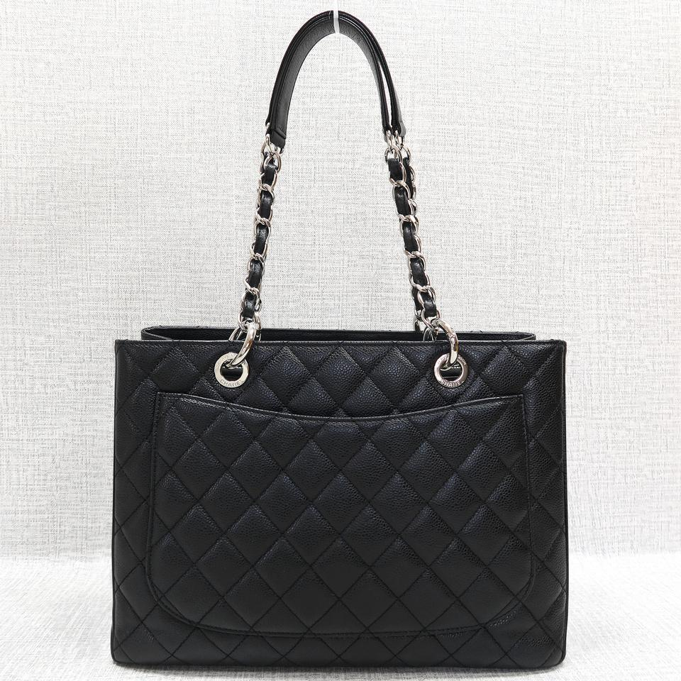chanel caviar grand shopping black tote bag totes on sale. Black Bedroom Furniture Sets. Home Design Ideas