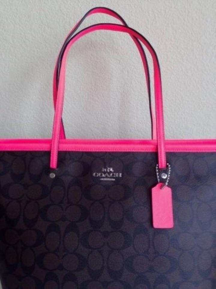 1c3dd308810d Coach Taxi Signature Zip Top Brown Neon Pink New F34703 Tote - Tradesy