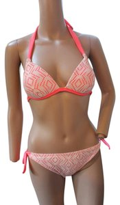 Hula Honey MACY'S HULA HONEY NEON PINK METALLIC LACE BIKINI TOP S BOTTOM M NWT